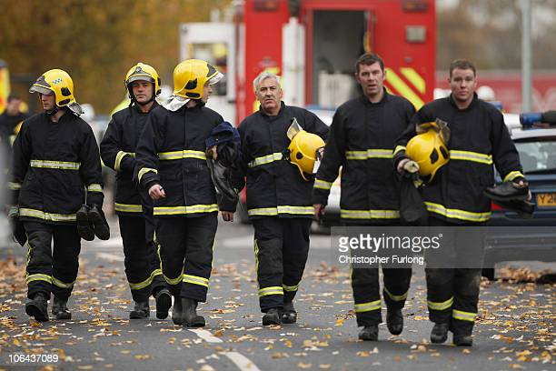Emergency services attend the scene of a gas explosion in Irlam Manchester today on November 2 2010 in Manchester England Seven people have been...
