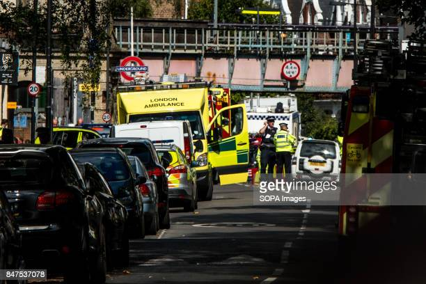 Emergency services attend to the scene near Parsons Green Underground Station Several people have been injured after an explosion on a tube train in...