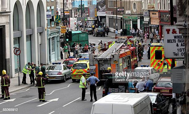 Emergency services cordone off Hackney Road area in Bethnal Green on July 21 2005 in London England The windows were blown out of a nearby number 26...
