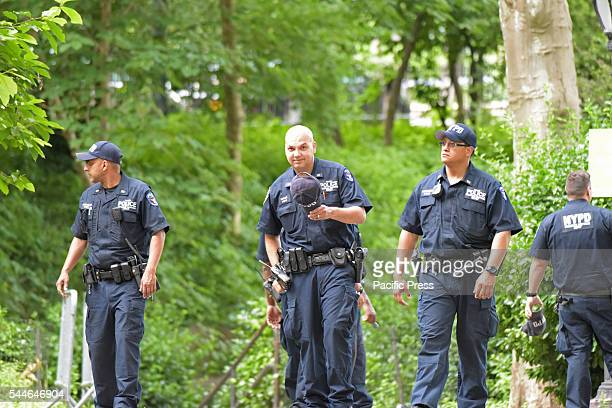 NYPD emergency services FBI FDNY investigators closed off a portion of Central Park alongside Fifth Avenue between 59th and 70th Streets after young...