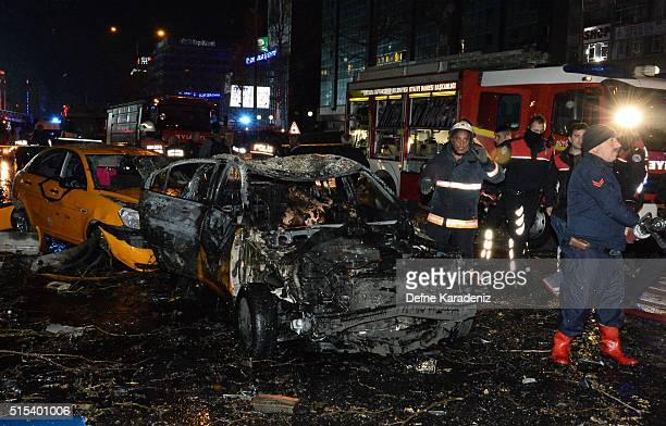 Emergency services gather at the scene of an explosion in Ankara's central Kizilay district on March 13 2016 in Ankara Turkey The Ankara governor's...