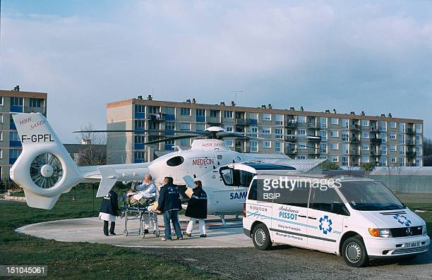 Emergency Services Helicopter In Reims In France Emergency Intervention
