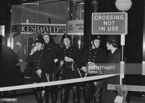 Emergency services in Knightsbridge the scene of a Provisional IRA fire bomb in London England 23rd December 1974