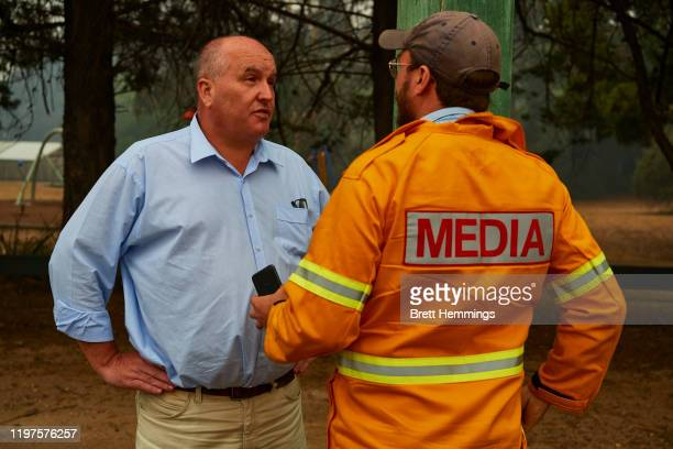 Emergency Services Minister David Elliott is pictured speaking to the media on January 5, 2020 in Wingello, Australia. A state of emergency is in...