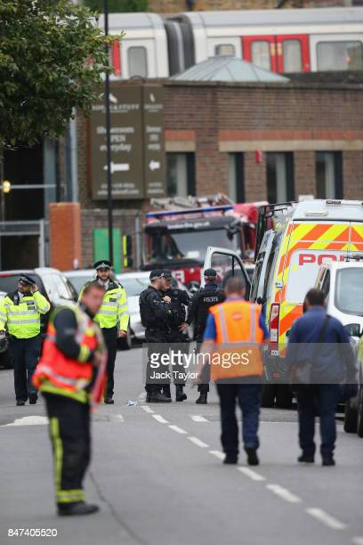 Emergency services personnel at the scene of this morning's tube explosion at Parsons Green Underground Station on September 15 2017 in London...