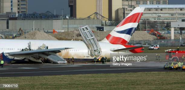 Emergency services surround a British Airways plane on Terminal 4 of Heathrow Airport on January 17 2008 in London England The plane from China is...