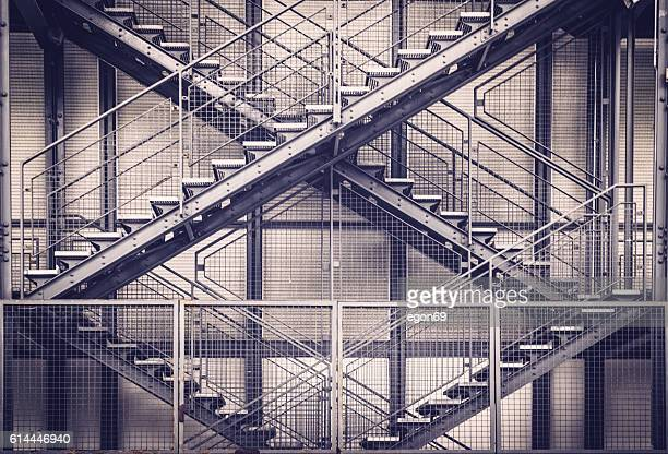 emergency stairs - stairs stock photos and pictures