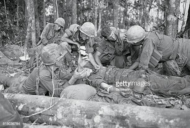 Emergency Transfusion Dak To South Vietnam During a bloody battle when a soldier is wounded and needs a transfusion it takes place there on the spot...