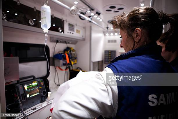 Emergency Transportation Emergency Medical Service team of Pontoise hospital France Night intervention of diabetic woman who lost consciousness after...