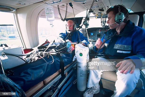 Emergency Transportation Helicopter Rescue Doctor And Emergency Medical Technicians