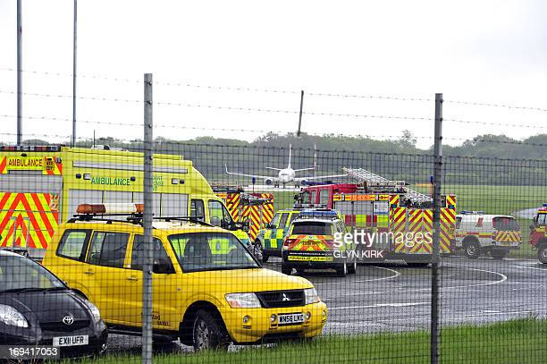 Emergency vehicles are pictured in Stansted Airport on May 24 shortly after a Pakistani International Airlines plane landed at the airport after...