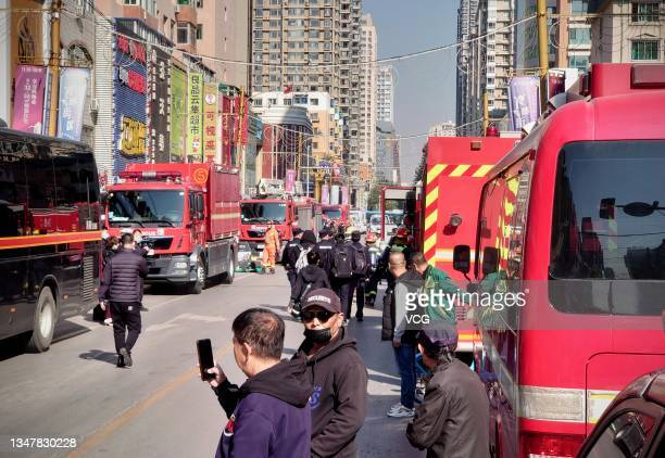 Emergency vehicles are seen at a gas explosion site on October 21, 2021 in Shenyang, Liaoning Province of China. A gas explosion occurred at a...