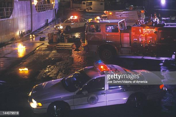 Emergency vehicles at dockside Miami Florida