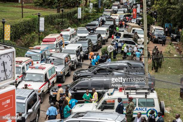 Emergency vehicles sit outside of the Dusit Hotel on January 16 2018 in Nairobi Kenya A security operation has continued into a second day after...