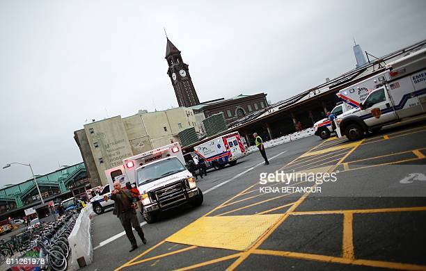 Emergency workers arrive at New Jersey Transit's rail station in Hoboken New Jersey September 29 2016 There are preliminary reports of a crash with...