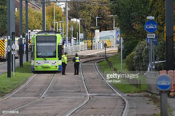 CROYDON ENGLAND NOVEMBER Emergency workers attend the scene of a tram crash on November 10 2016 in Croydon England Seven people were killed and more...