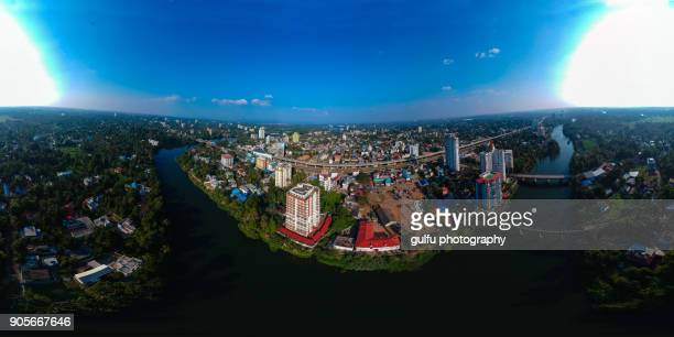 emerging city and village aerial view  aluva,kerala,india - kochi india stock pictures, royalty-free photos & images