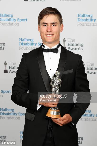 Emerging Talent Award winner cyclist Campbell Stewart at the 54th Halberg Awards at Vector Arena on February 9 2017 in Auckland New Zealand