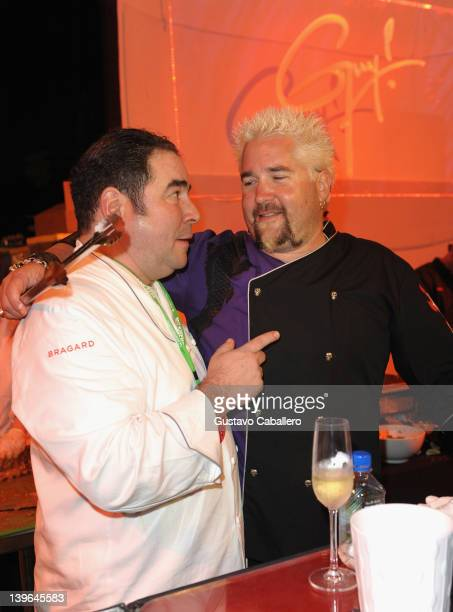 Emeril Lagasse and Guy Fieri attend Moet Hennessy's The Q Hosted By Emeril Lagasse and Guy Fieri during 2012 South Beach Wine and Food Festival at...