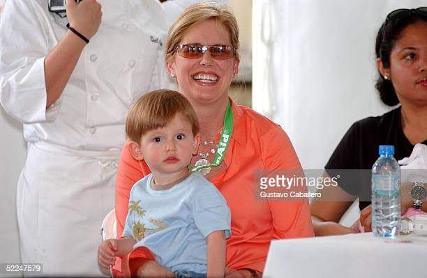 Emeril Lagasse's wife Alden Lovelace and their baby at the South Beach Food And Wine Festival on February 26 2005 in Miami Beach Florida
