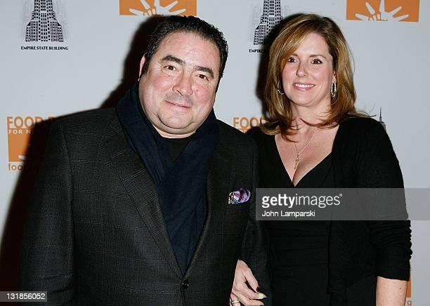 Emeril Legasse and Alden Lovelace attend the launch of Food Bank for NYC's Culinary Council at The Empire State Building on December 7 2010 in New...