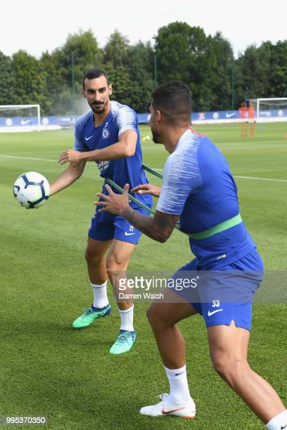 Emerson and Davide Zappacosta of Chelsea during a training session at Chelsea Training Ground on July 10 2018 in Cobham England