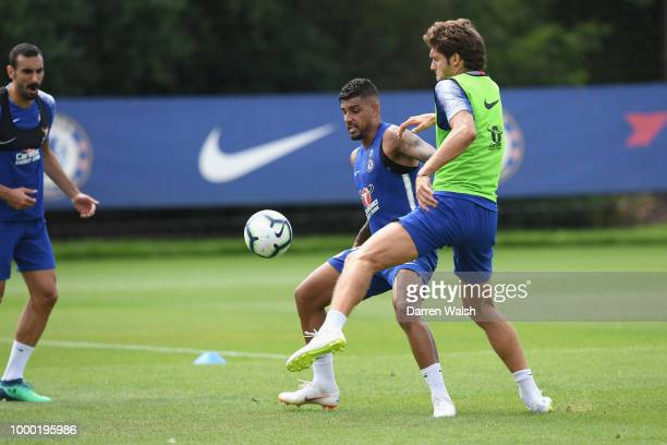 Emerson and Marcos Alonso of Chelsea during a training session at Chelsea Training Ground on July 16 2018 in Cobham England