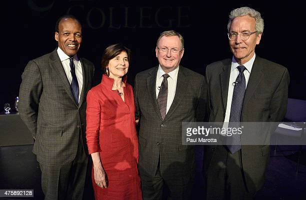 Emerson College President Lee Pelton hosts an event to honor outgoing museum directors Anne Hawley Malcolm Rogers and Thomas Lentz at Paramount...