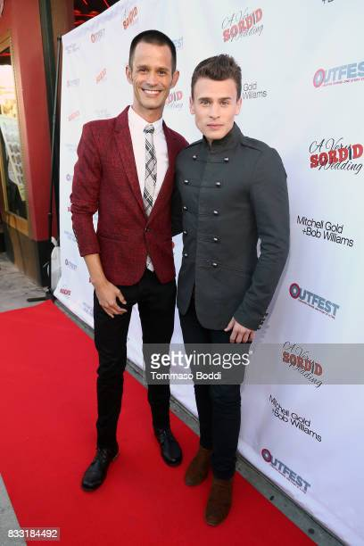 Emerson Collins and Blake McIver attend the Premiere Of Beard Collins Shores Productions' 'A Very Sordid Wedding' on August 16 2017 in Beverly Hills...