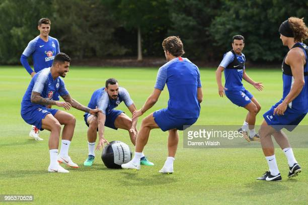 Emerson Davide Zappacosta and Marcos Alonso of Chelsea during a training session at Chelsea Training Ground on July 10 2018 in Cobham England