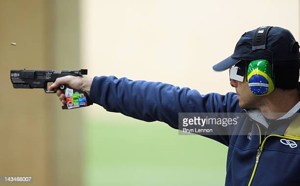 Emerson Duarte of Brazil in action in the Men's 25m Rapid Fire Pistol on day nine of the ISSF Shooting World Cup LOCOG Test Event for London 2012 at...