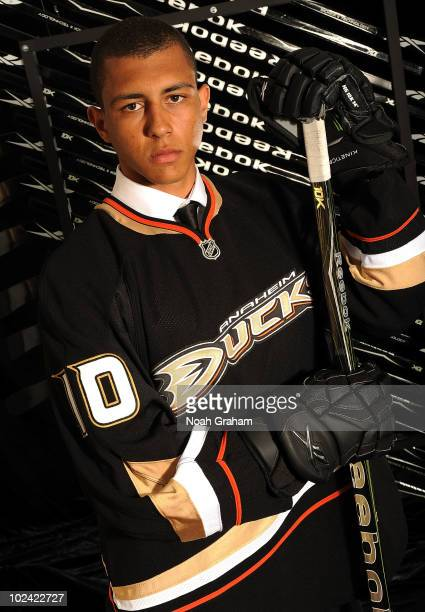Emerson Etem drafted 29th overall by the Anaheim Ducks poses for a portrait during the 2010 NHL Entry Draft at Staples Center on June 25 2010 in Los...