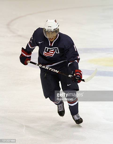 Emerson Etem of Team USA skates against Team Sweden at the Lake Placid Olympic Center on August 10 2011 in Lake Placid New York