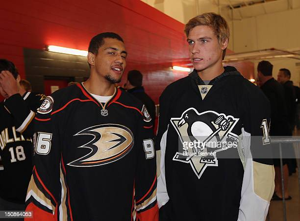 Emerson Etem of the Anaheim Ducks and Beau Bennett of the Pittsburgh Penguins meet with the media at the 2012 NHLPA rookie showcase at the MasterCard...
