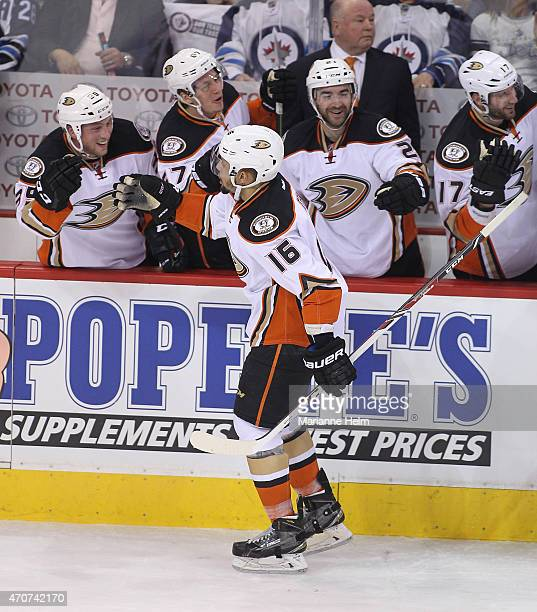 Emerson Etem of the Anaheim Ducks celebrates his goal against Ondrej Pavelec of the Winnipeg Jets during first period action in Game Four of the...