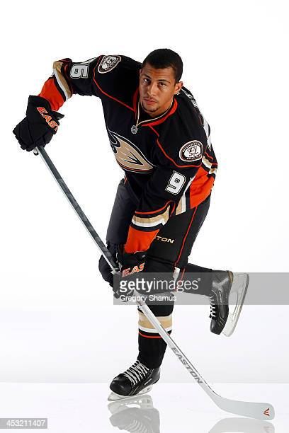 Emerson Etem of the Anaheim Ducks poses for an NHLPA The Players Collection portrait at The Westin Harbour Castle hotel on August 27 2012 in Toronto...