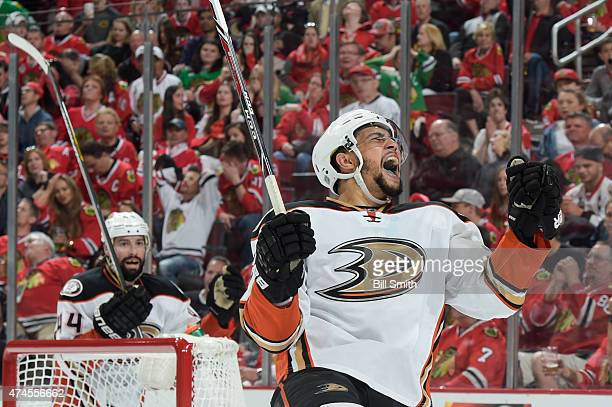 Emerson Etem of the Anaheim Ducks reacts after the Ducks scored against the Chicago Blackhawks in the second period in Game Four of the Western...