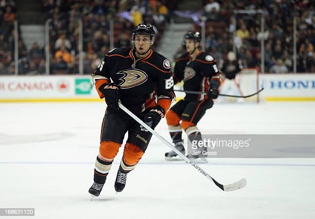 Emerson Etem of the Anaheim Ducks skates against the Calgary Flames at Honda Center on March 8 2013 in Anaheim California