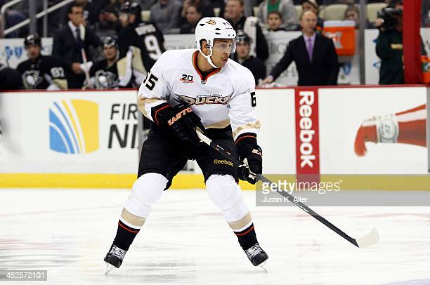 Emerson Etem of the Anaheim Ducks skates against the Pittsburgh Penguins during the game at Consol Energy Center on November 18, 2013 in Pittsburgh,...