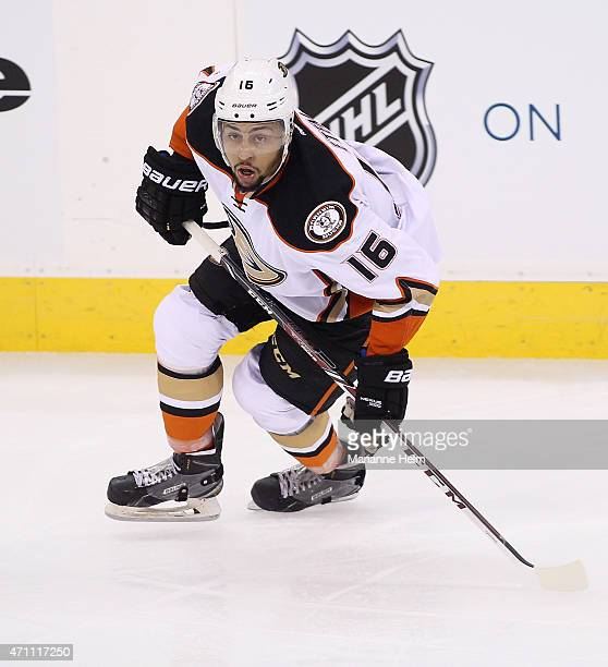 Emerson Etem of the Anaheim Ducks skates down the ice during third period action in Game Four of the Western Conference Quarterfinals against the...