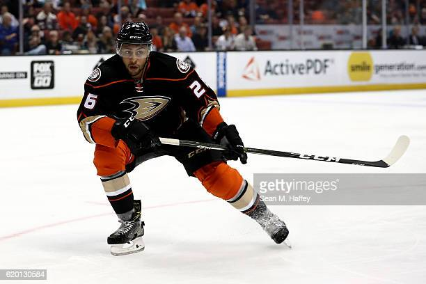 Emerson Etem of the Anaheim Ducks skates during the third period of a game against the Nashville Predators at Honda Center on October 26 2016 in...