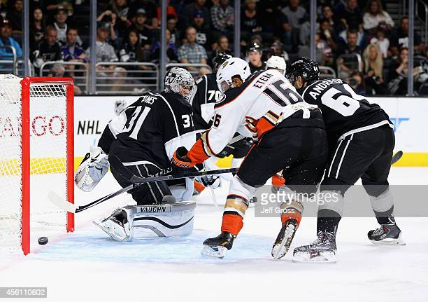 Emerson Etem of the Anaheim Ducks tips the puck past goaltender Martin Jones of the Los Angeles Kings for a goal in the first period at Staples...
