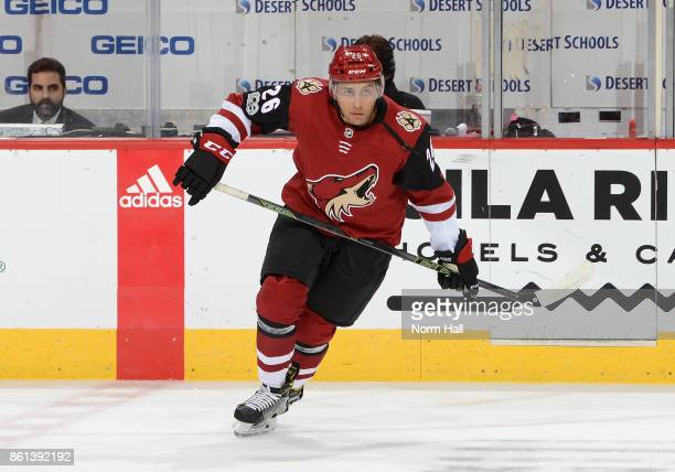 Emerson Etem of the Arizona Coyotes prepares for a game against the Detroit Red Wings at Gila River Arena on October 12 2017 in Glendale Arizona