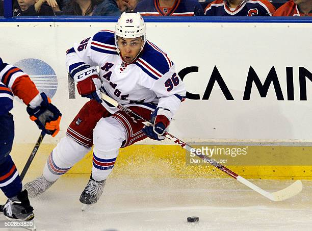 Emerson Etem of the New York Rangers puts on the brakes against the Edmonton Oilers at Rexall Place on December 11 2015 in Edmonton Alberta Canada