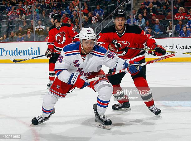 Emerson Etem of the New York Rangers skates against the New Jersey Devils during a preseason game at the Prudential Center on September 26 2015 in...