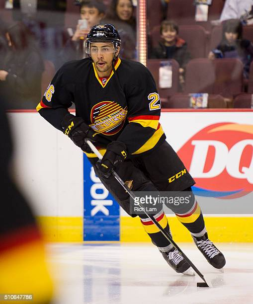 Emerson Etem of the Vancouver Canucks skates during with the puck the pregame warmup prior to a game against the Toronto Maple Leafs in NHL action on...