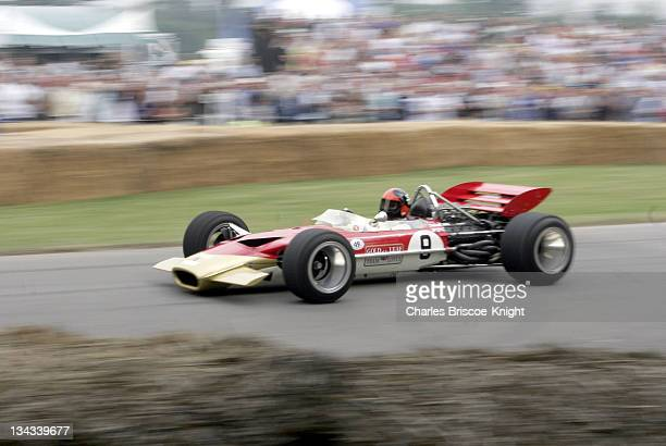 Emerson Fittipaldi demonstrates the Lotus 49 the car in which he made his F1 Grand Prix debut at Goodwood at the 2005 Goodwood Festival of Speed on...
