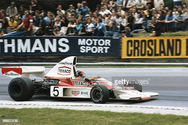 Emerson Fittipaldi drives the Marlboro Team Texaco McLaren Ford M23 during the British Grand Prix on 20 July 1974 at the Brands Hatch circuit in...