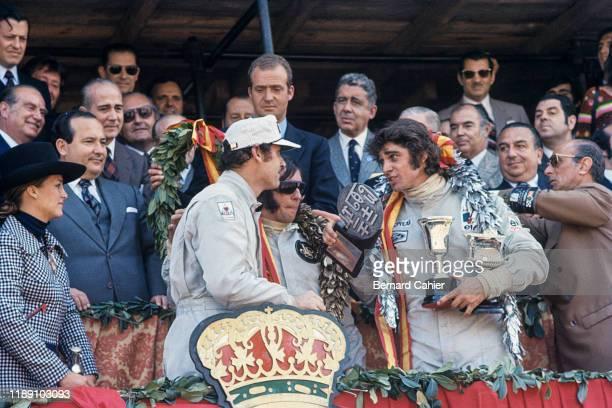 Emerson Fittipaldi, George Follmer, François Cevert, Juan Carlos King of Spain, Grand Prix of Spain, Montjuic circuit, Barcelona, 29 April 1973.