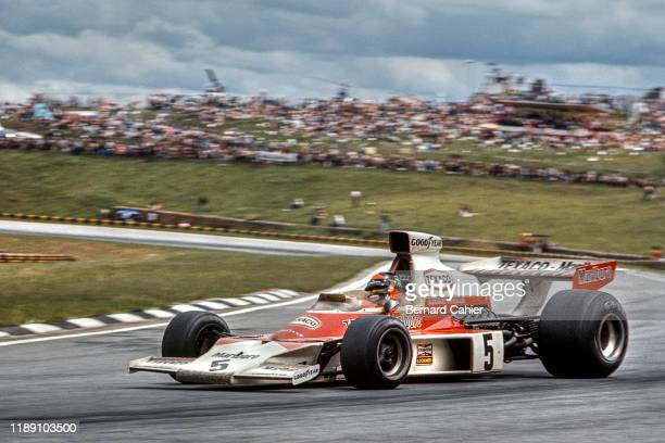 Emerson Fittipaldi, McLaren-Ford M23, Grand Prix of Brazil, Interlagos, 27 January 1974. Pole position and victory for Emerson Fittipaldi in the 1974...